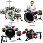 Kids My First Drum Kit Play Set Drums Cymbal Musical Toy Instrument Pedal Stool