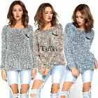 Women Long Sleeve Knitted Sweater Leisure Loose Knitwear Tops Pullover TXCL