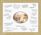 "Medium 12x16"" Christening Guest Signing Board Solid Oak Wood Frame"