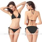 Women Bikini Swimsuit Bathing Push-up Padded  Halter Bandage Swimwear Bra Black