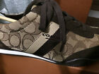 NWB COACH Kelson Tennis Sneakers Signature Jacquard Khaki Brown 6 7.5 MSRP $110