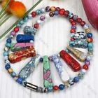 1P Howlite Turquoise Round Stick Bead Necklace 12 Style