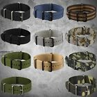 INFANTRY Sport Army Watch Band Fabric Nylon Canvas Strap PVD G10 4Rings Black