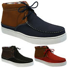 MENS CANVAS SUMMER CASUAL LACE UP HI TOP BOOTS ANKLE DESERT TRAINERS SHOES SIZE