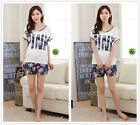 Flower Pink Women Girl Sleepwear Pajama Set Nightwear Shirt & Shorts L-2XL