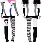Womens Skull Head Print Striped Skinny Stretch Pantyhose Tights Pants Trousers
