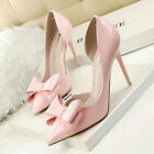 Women Shoes Stilettos Pointed Toe High Heels Sexy Bow Patent Leather Pumps Sweet