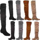 Womens Ladies New Warm Winter Fashion Faux Suede Riding Knee High Boots Shoes