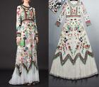 Womens Embroidered Flowers Long Sleeve Vogue Lace Tulle Vintage Full Long Dress