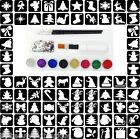Glitter Tattoo Kit 31 - Christmas Theme 77 Stencils 8 Glitter Glue Brushes Gems