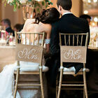 """Mr. & Mrs."" Burlap Chair Banner Sets Sign Chair Sash Rustic Wedding Party Decor"