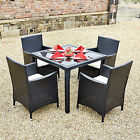 Low Price Black Rattan Garden Furniture Dining Table Set 4 Chairs Conservatory