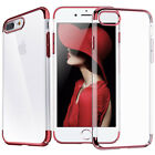 For iPhone 8 7 Plus Clear Electroplate Metal Bumper Case +Tempered Glass Screen