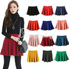 Women Ladies Cotton Blends Stretch Waist Pleated Mini Short Skirts Dress