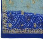 Vintage Saree Anchal Antique Hand Beaded Zardozi Multi Purpose Craft Fabric