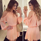 Women Chiffon Strapless Sling Long Sleeve Pink Dress Chiffon Off Shoulder Dress0
