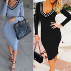 Womens Long Sleeve Low cut Slim fit Cottom Gray Black Dress TB