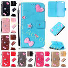 Premium Applique Leather Wallet Case Good Purse Cover+Anti-lost Strap For Phones