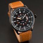 INFANTRY Mens Quartz Watch Sports Army Date Display Analog Vintage Leather Strap