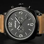 INFANTRY Aviator Mens Quartz Sport Watch Military Luminous Analog Real Leather