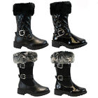INFANTS FAUX FUR KIDS GIRLS MID CALF ZIP BUCKLE WARM SNOW WINTER BOOTS NEW