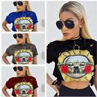Women t-shirt harajuku nostalgia printed holes cotton crop top graphic t-shirt