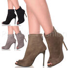 WOMENS LADIES HIGH HEEL PEEP TOE STILETTO EVENING PARTY ANKLE BOOTS BOOTIES SIZE