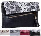 LADIES FAUX SNAKE LEATHER / CROC FLAP ENVELOPE SHOULDER EVENING HAND CLUTCH BAG