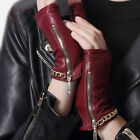 women fashion no finger style gold chain wrist with side zipper short gloves