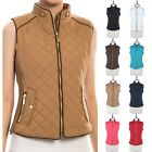Sleeveless Quilted Front Zipper Ribbed Sides Vest with Pockets Casual S M L