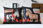Retro Cartoon Black Horse Pillow Case Cushion Cover Square Linen Sofa Decor