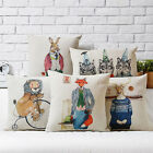Cartoon Animal Hand-painted Decor Pillow Case Cushion Cover Square Oblong Linen