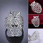 Women Fashion 925 Silver Plated Owl Ring Punk Jewelry Creative Size 7/8 New