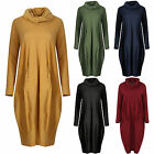 Womens Ladies Italian Turtle Neck Knit Plus Size Oversized Cotton Pocket Midi