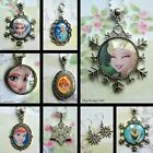 FROZEN SNOWFLAKE CHARM HANDMADE NECKLACE LOCKET DISNEY PRINCESS ANNA ELSA OLAF