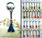 INITIAL WOODEN CHARM KEYRING KEYCHAIN LETTER ALPHABET