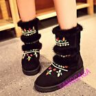 Winter Warm Womens Thicken Casual Rhinestones Snow Ankle Boots Suede Fur Shoes