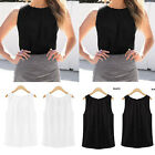 Summer Women's Solid Sleeveless Crew Neck Pullover Chiffon Blouse Tank Vest Tops