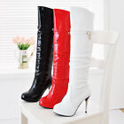 Women's Shoes Shiny Synthetic Leather Platform High Heel Knee Boots UK Size b004