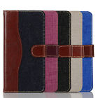double color jean fabric wallet pu leather phone case cover for iphone7,7plus