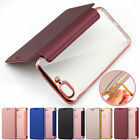 Plating Clear Silicone Back Leather Wallet Card Slot Case Cover for iPhone7 Plus