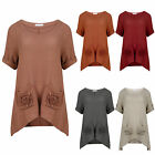 Womens Pocket Short Sleeves T-shirt Casual New Loose Blouse Shirt Round Neck Top