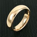 4mm or 6mm Tungsten Ring Polished Rose Gold Domed Wedding Band Jewelry