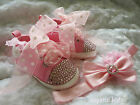 Baby Girls Reborn Pink Bling Party Boots Shoes and Headband Set 0 - 12 mnths
