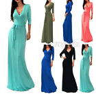 2016 Sexy Women's V-Neck 3/4 Sleeve Wrap Waist Long Cocktail Evening Party Dress