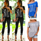 Fashion Womens Short Sleeve Off Shoulder LOVE Letter Print Loose Tops T-shirt
