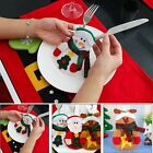 Christmas Snowman Tree Cutlery Tableware Holder Fork Spoon Knife Bag Cover Decor