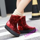 Fashion Womens Casual Faux Suede Fur Lined Wedge Heels Winter Ankle Boots Shoes