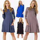 Women Casual Plain Long Sleeve Round Neck Tunic T-Shirt Fashion Loose Dress New