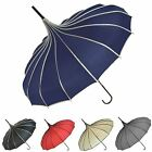 Ladies Boutique Ribbed Pagoda Manual Open Walking Stick Style Brolly Umbrellas